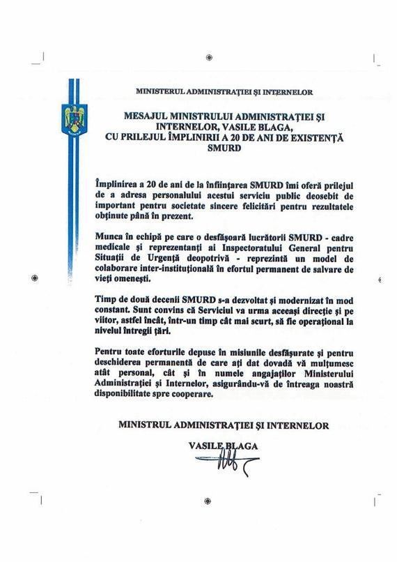 Mesajul ministrului Vasile Blaga către SMURD la împlinirea a 20 de ani de activitate