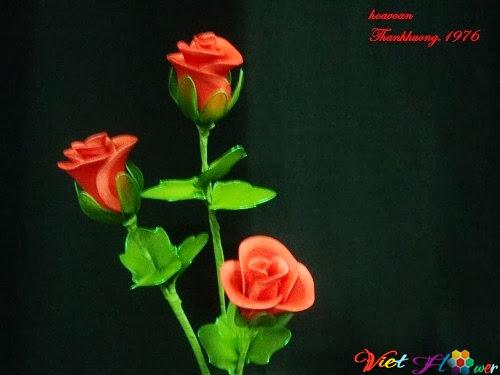 Cách làm hoa hồng nhung bằng vải voan