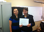 Teacher Sonya Nimtz and student Raquel Gomez. Raquel, a student at PREP completed her GED with Five Keys in January 2014