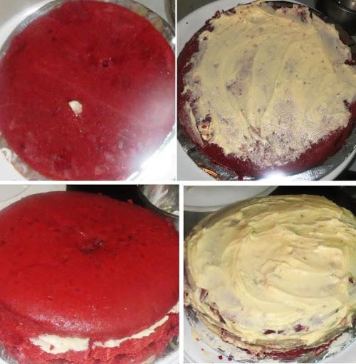 Red Velvet Cake Recipe - Classic Eggless Cakes - Step by step pictorial - eggless Red velvet cake recipe written by Kavitha Ramaswamy of Foodomania.com