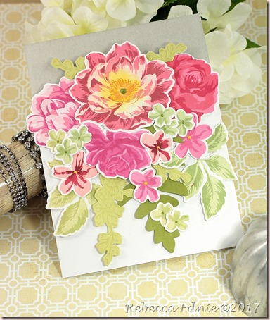 big rose bouquet cut out card