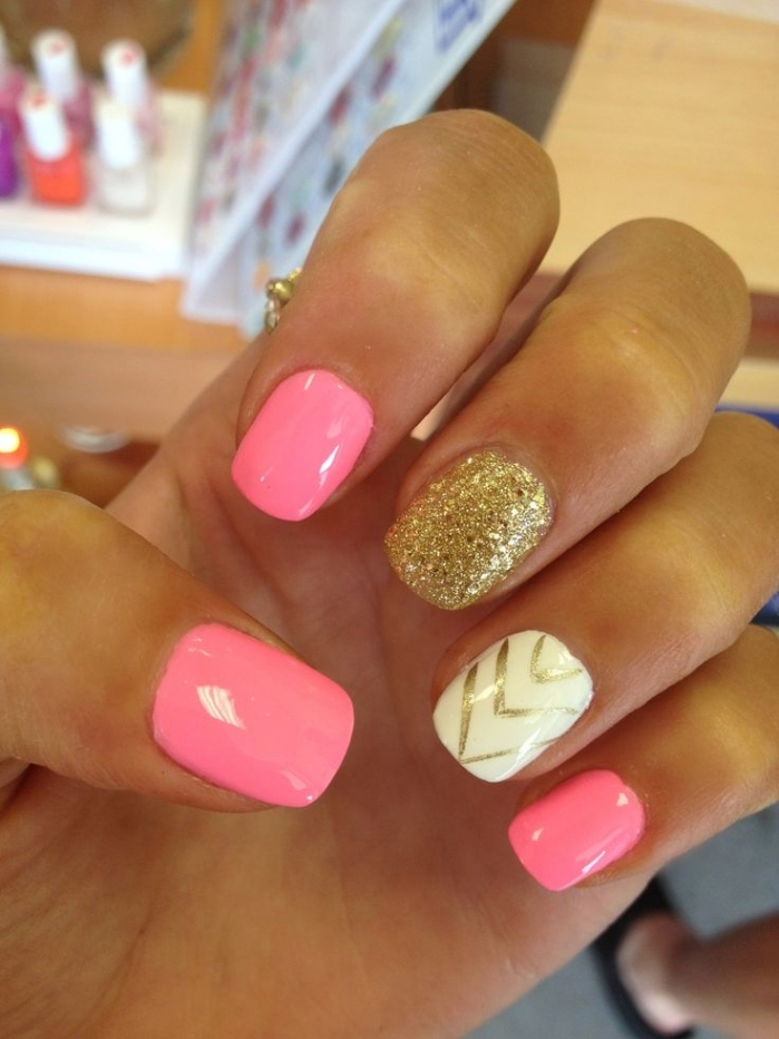 Gold Acrylic Nail Designs For 2017 New Styles Art