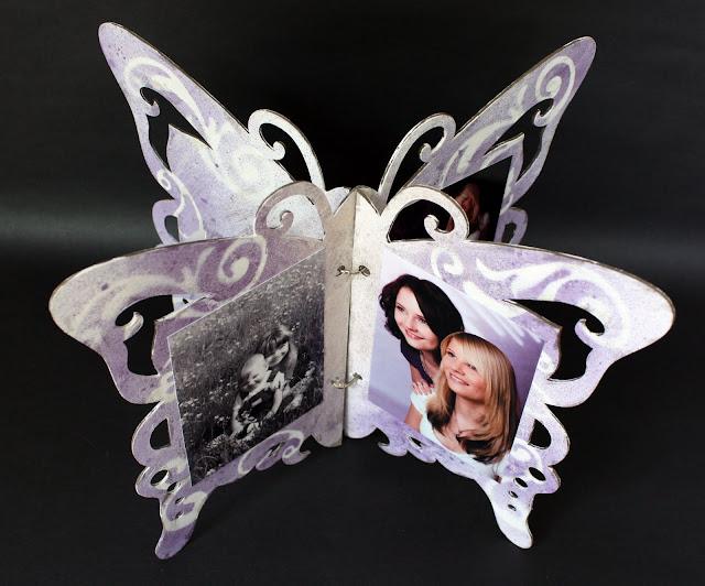 Album de quinceañera en forma de mariposa