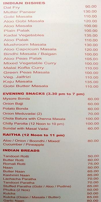 Bharani Veg menu 8
