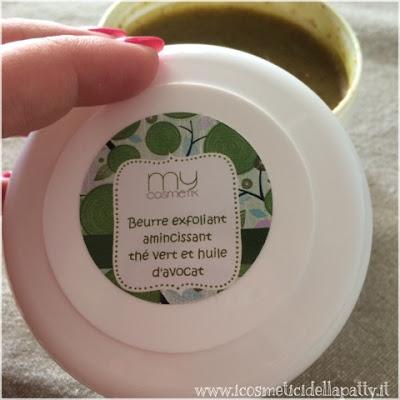 My Cosmetik (collaborazione): burro esfoliante snellente al the verde e olio di avocado