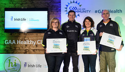 4 November 2017; Down representatives Katriona Kernan, left, Mary Walsh, both St Peter's Warrenpoint, and Kevin McGlynn, St John's Drumnaquoile, with their Official Healthy Club awards alongside Seán Cavanagh, Healthy Clubs Ambassador and former Tyrone footballer. The GAA Healthy Clubs Recognition Event, supported by Irish Life, saw 58 GAA clubs recognised as the first official 'Healthy Clubs' on the island of Ireland. The GAA's Healthy Clubs Project hopes to transform GAA clubs nationally into hubs for community health and wellbeing. As part of the programme, each club is trained to deliver advice and information programmes on a variety of different topics including, physical activity; emotional wellbeing; healthy eating; community development, to name but a few. For more information, visit: www.gaa.ie/community. Croke Park, Dublin. Photo by Piaras Ó Mídheach/Sportsfile *** NO REPRODUCTION FEE ***