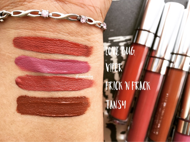 NC40 swatch colourpop tansy, frick n frack, love bug, viper dark skin swatch