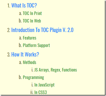 table of contents with multiple levels
