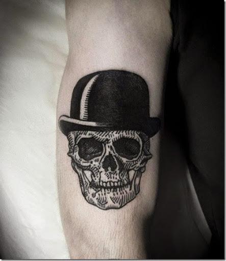 un negro simple de crneo diseo de tatuaje de vestir de negro de la cabeza con sombrero de copa