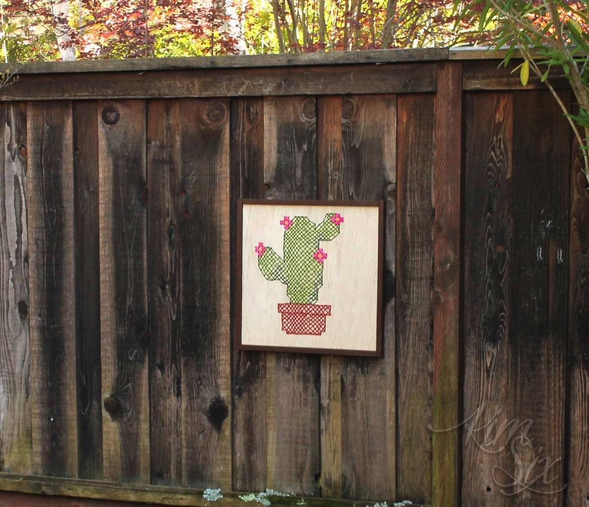 Oversized cross stitch on wood