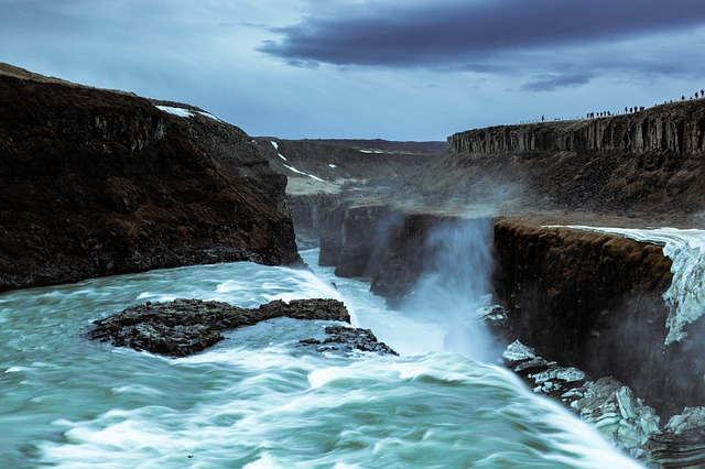 gullfoss iceland waterfall long