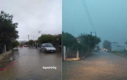 Πλημμυρισμένοι δρόμοι και προβλήματα στη Χαλκιδική