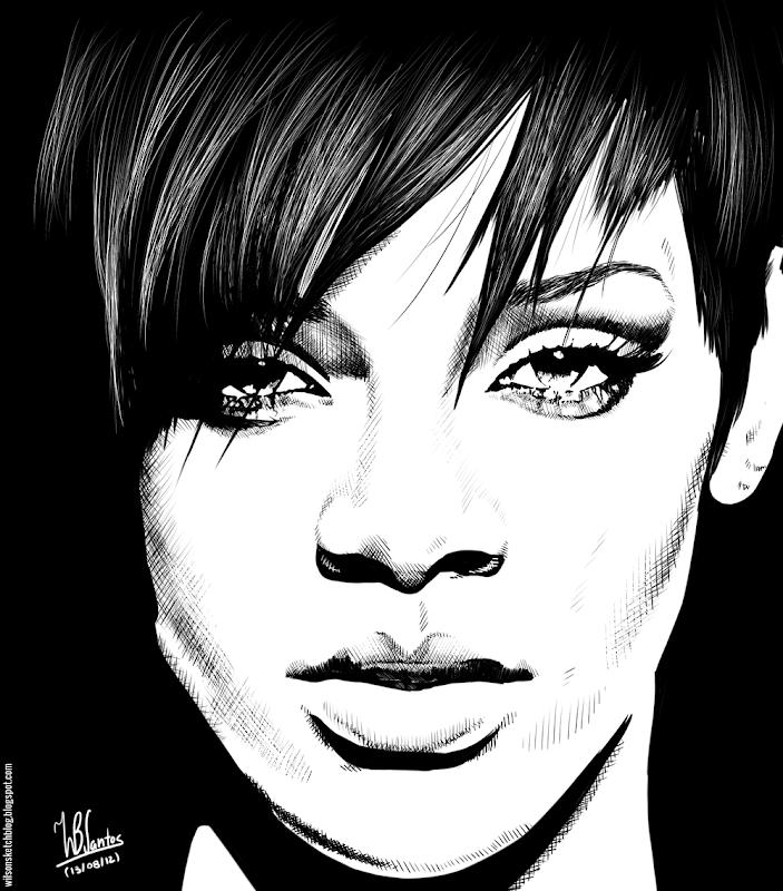Ink drawing of Rihanna, using Krita 2.4.