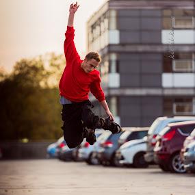 skating by Kiril Kolev - Sports & Fitness Skateboarding ( urban exploration, skate, parking, sunset, action, skating, street photography )
