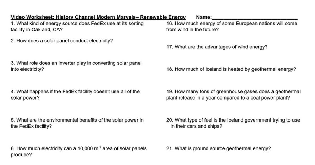Renewable Energy Video Questions Google Docs – Solar Energy Worksheet