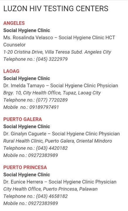 Get tested from the following locations