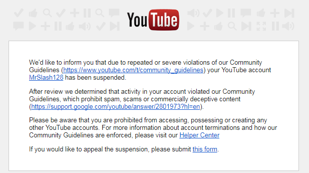Why was my Youtube account suspended if i did nothing wrong