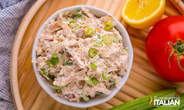 chicken salad recipe in a white bowl