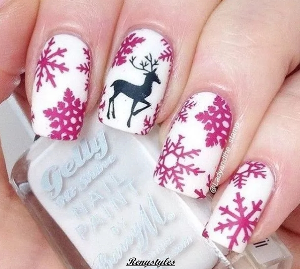 Fabulous Reindeer Nail Art Designs & Ideas