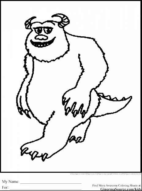 Fabulous Monsters Inc Coloring Pages Sulley For The Little Varmits Pintere  With Monsters Inc Coloring Pages