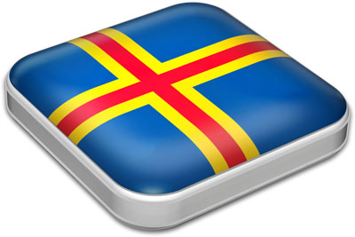 Flag of Aland with metallic square frame