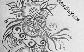 Peacock Flower Tattoo Design