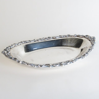 Silver Plated Floral Oval Serving Bowl