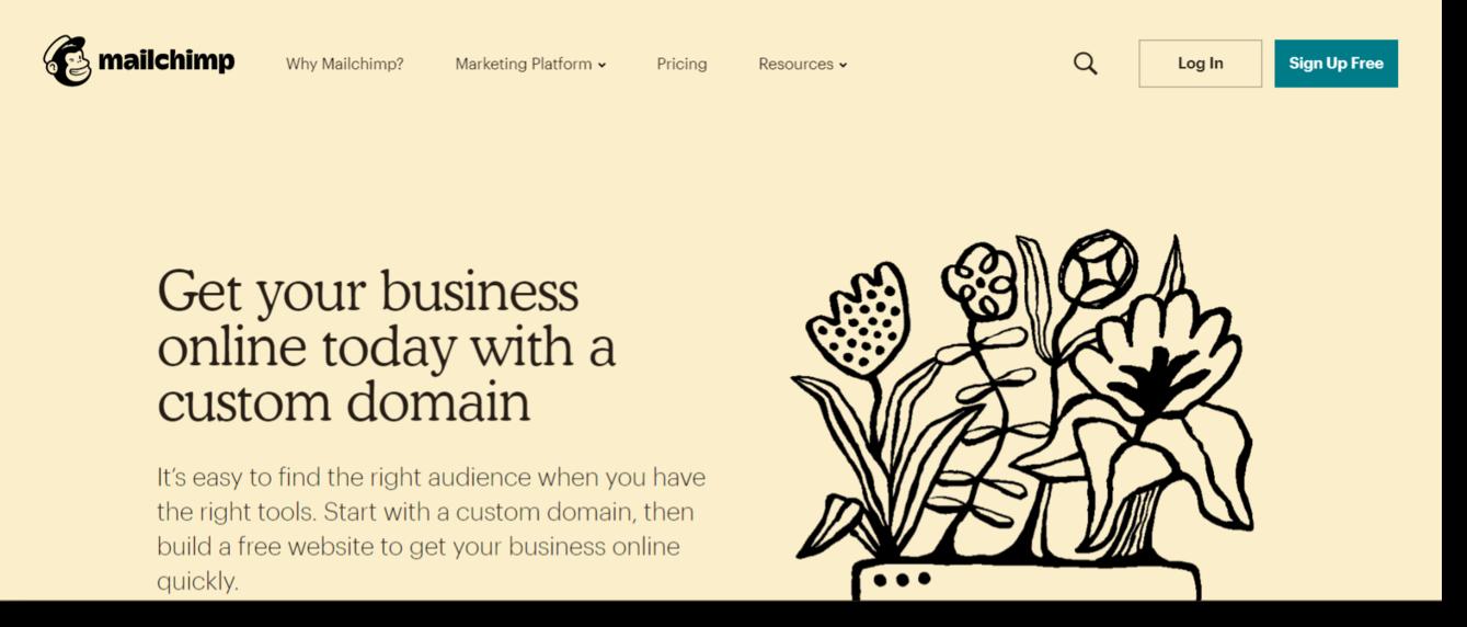 Mail Chimp SaaS web design example saas web design