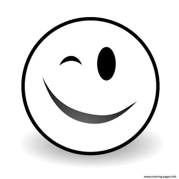 Print Winky Face Emoji Coloring Pages