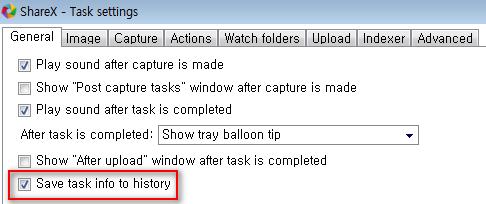 ShareX History 옵션 활성화