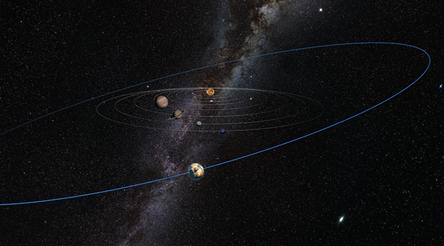 ilustração do suposto objeto com órbita além de Plutão