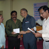 3. T Devendranath,T Seshnarayan and K Nageswara Rao receiving a prize for FMC team from Srikishanlal Sarma EC member