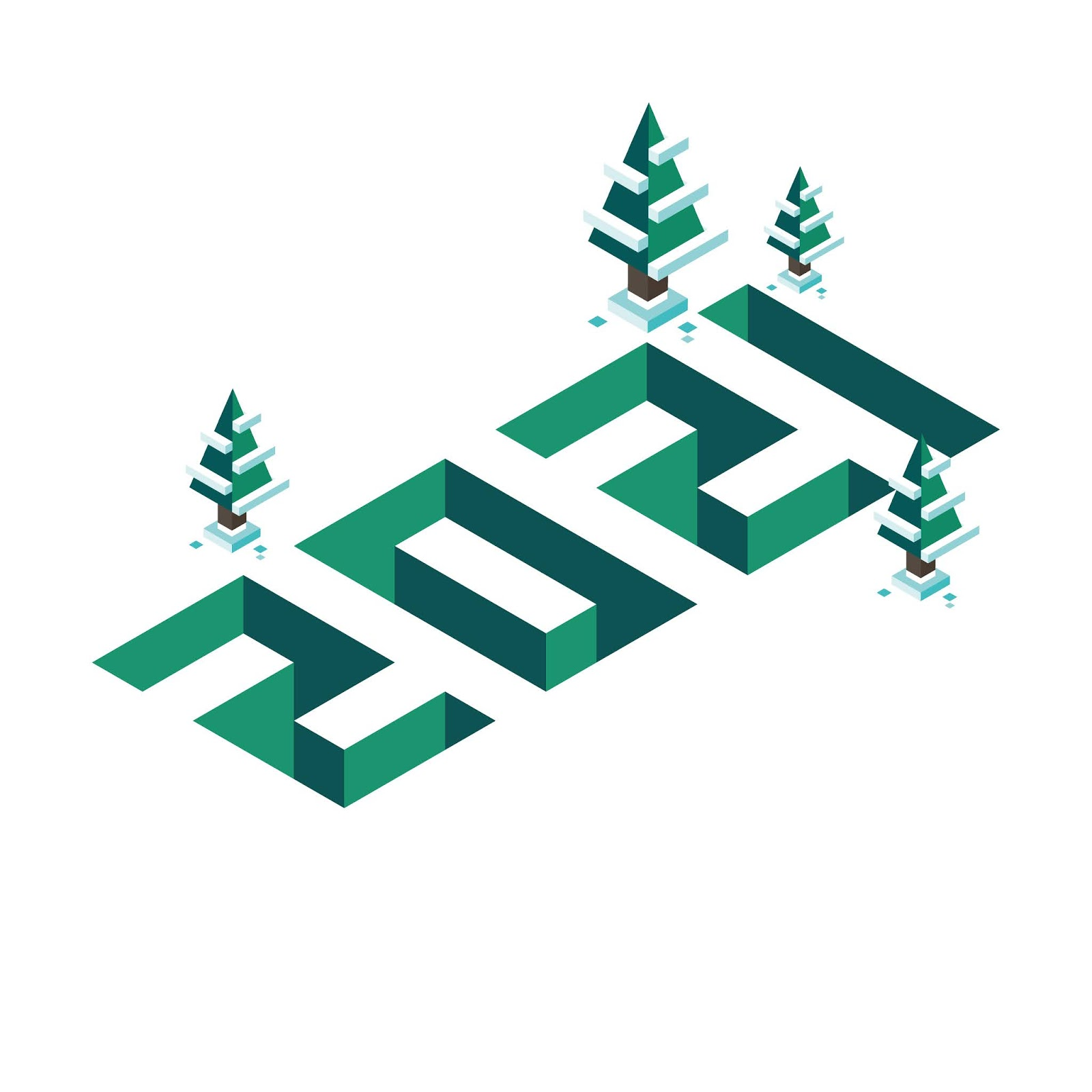 Happy New Year Merry Christmas 2021 Banner Isometry As Three Dimensional Volumetric Illustration With Pine Trees Snow Green Free Download Vector CDR, AI, EPS and PNG Formats