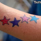 red purple pink blue stars - tattoo designs