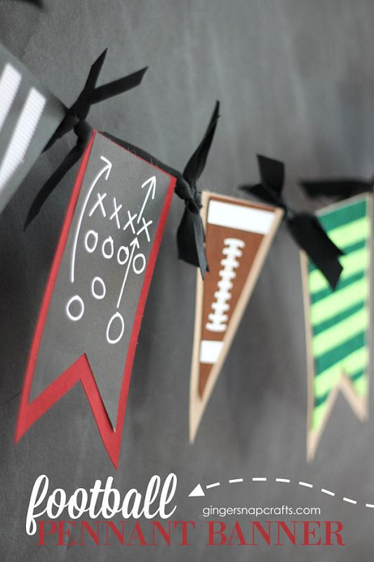 football pennant banner at GingerSnapCrafts.com #football #cricutmaker #cricutmade