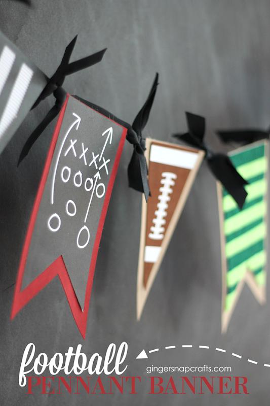 football pennant banner at GingerSnapCrafts.com #football #cricutmaker #cricutmade