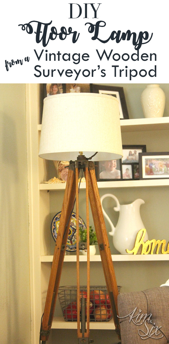 DIY floorlamp from a vintage wooden tripod