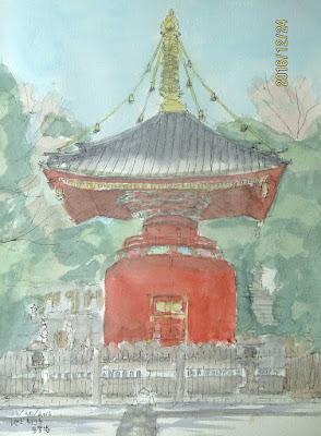 12/21/2016  SSTのスケッチ仲間6人で池上本門寺を訪れた。日蓮上人の御余灰を盛って奉安したと伝えられる1828年建立の多宝塔は珍しい建物でひときわ目を引く。