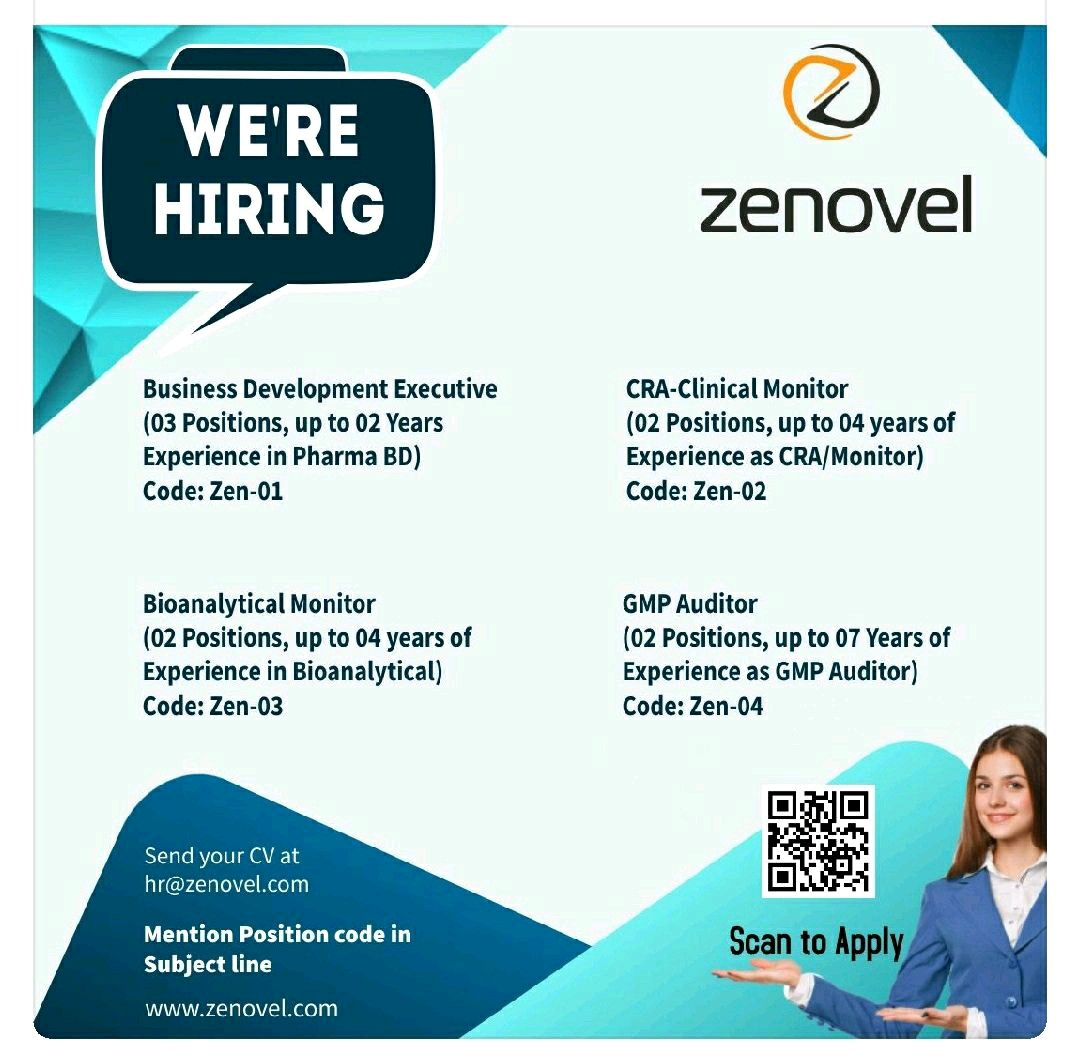 Opening For Clinical Research, Business Development, Bio-Analytical, GMP Auditor At Zenovel