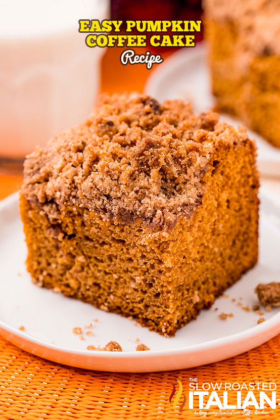 pumpkin coffee cake slice on a plate
