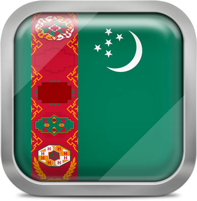 Turkmenistan square flag with metallic frame