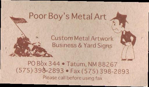 Poor Boy card