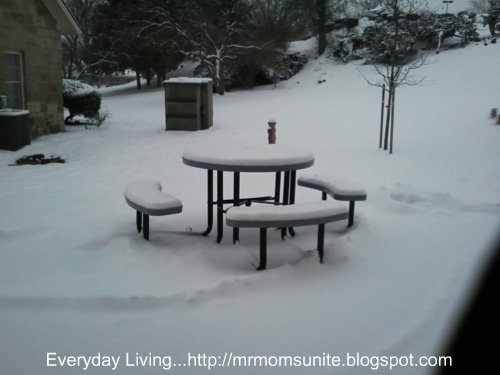 photo of snow covered table at VA Medical Center