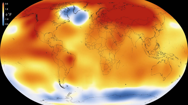 2015 was the warmest year since modern record-keeping began in 1880, according to a new analysis by NASA's Goddard Institute for Space Studies. The record-breaking year continues a long-term warming trend — 15 of the 16 warmest years on record have now occurred since 2001. Graphic: Scientific Visualization Studio / Goddard Space Flight Center