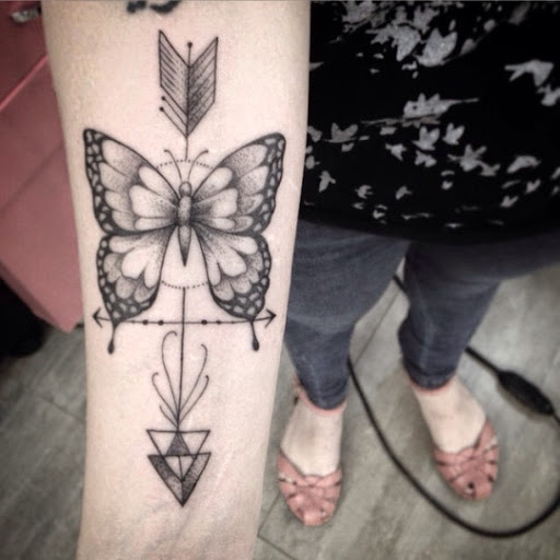 Arrow tattoos with butterfly