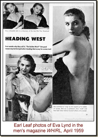 Eva Lynd in WHIRL, April 1959 - Earl Leaf photos