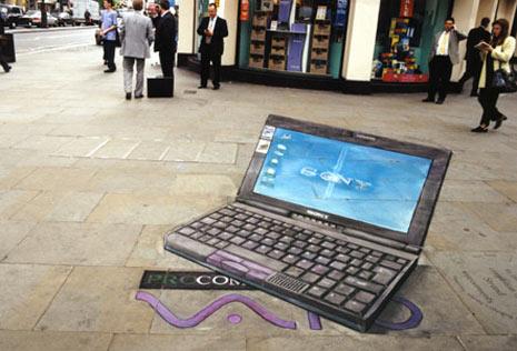 Ejemplos de publicidad 3d en el piso - Sony