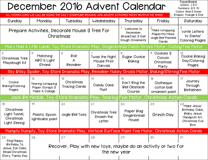 Advent Calendar Activities for Toddlers
