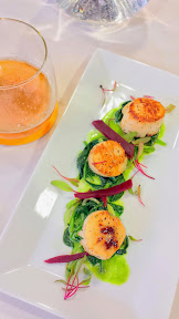 Fort George 3 Way IPA, paired with this delicious course from Whole Foods Pearl of Scallops with pea puree and greens
