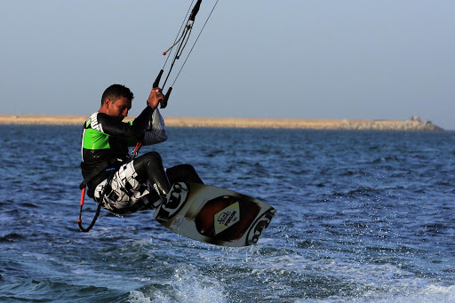 A Libyan man practices kitesurfing off the coast of Tripoli.